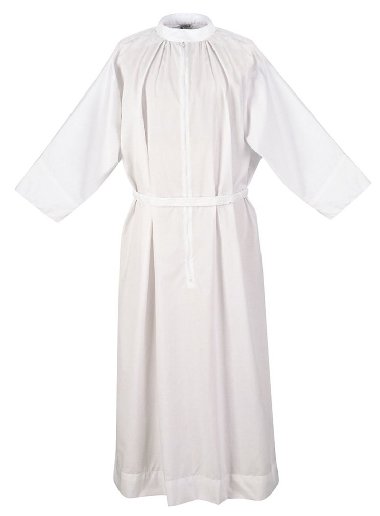 Abbey Brand Clergy Fitted Alb with Standup Collar, White (Large)