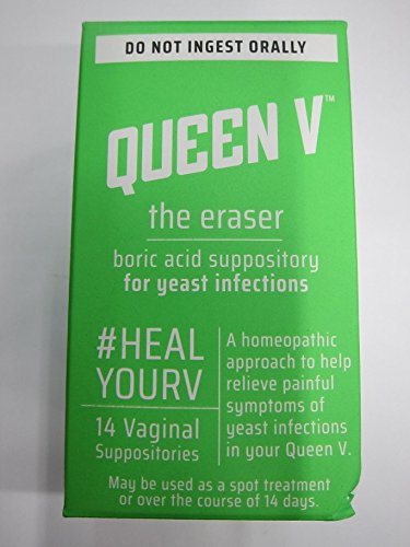 Queen V The Eraser Yeast Infection Treatment | Boric Acid | 14 Vaginal Suppositories (Best Drugstore Yeast Infection Treatment)