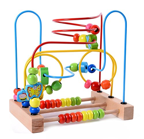 Lewo Wooden Baby Toddler Toys Circle First Bead Maze for Boys Girls ()