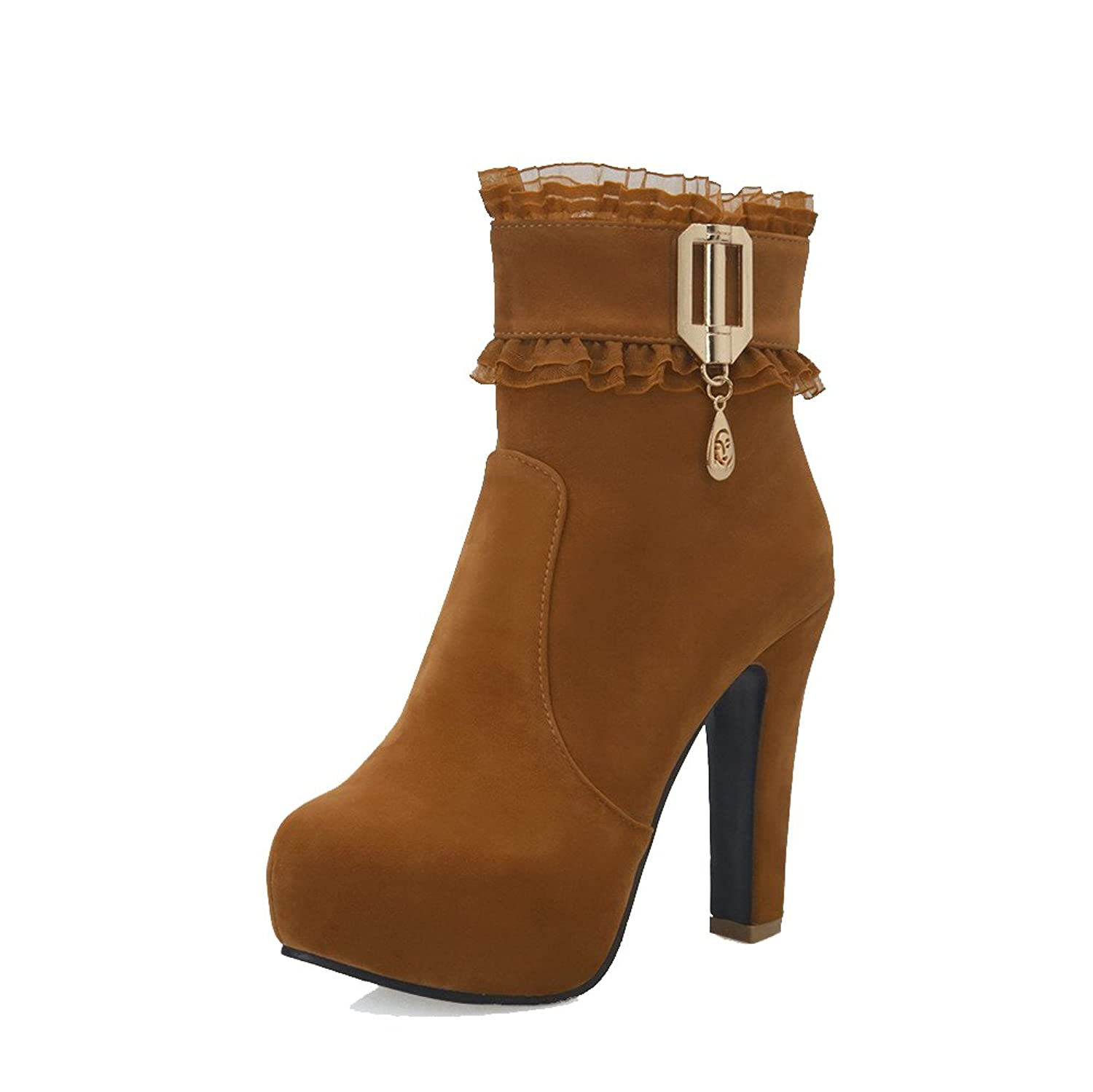 WeiPoot Women's Solid Imitated Suede High-Heels Zipper Round Closed Toe Boots