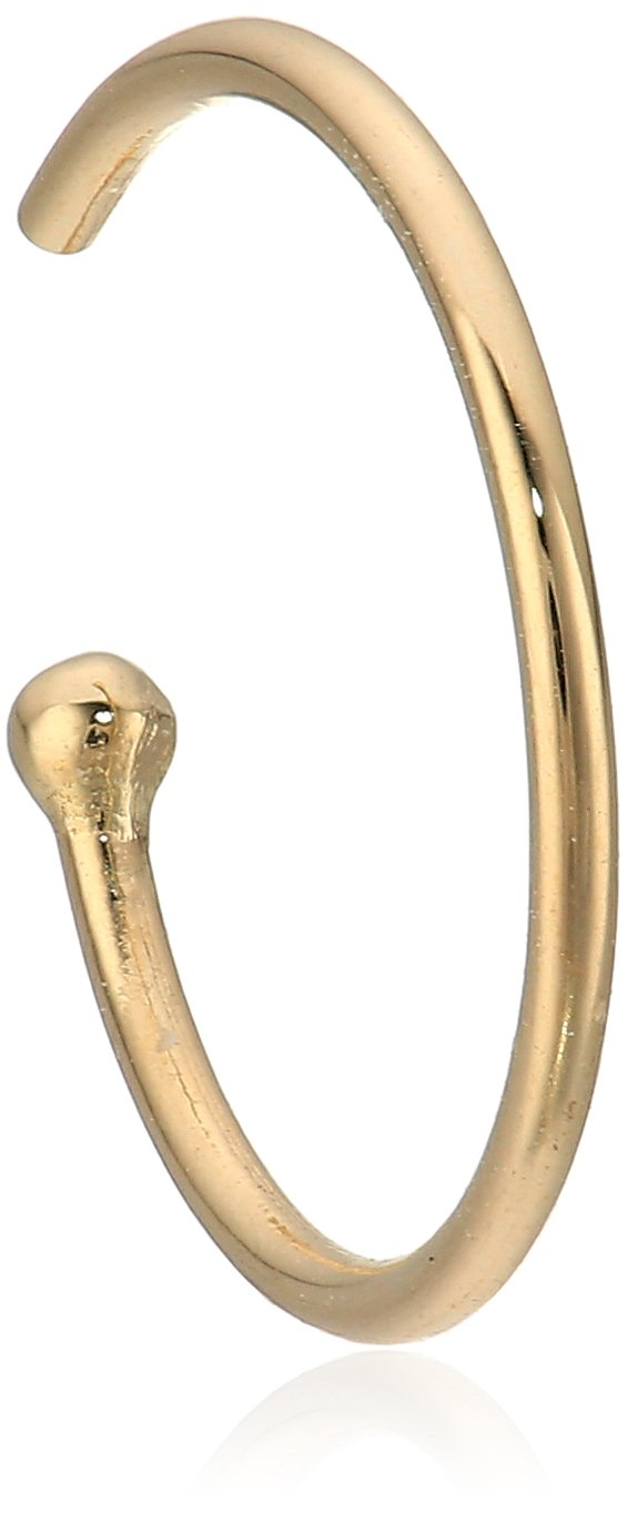 Body Candy Women's Solid 14k Yellow Gold Nose Hoop 3/8'' 20 Gauge Body Piercing Screw, One Size