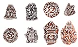 Handicraft-Palace Indian Hand Carve Lord God Wood Block Decorative Stamps Printing Textile Stamp Wall Painting Fabric Print Religious (10 pc Set)
