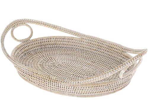KOUBOO La Jolla Oval Rattan Tray with Looped Handles, White Wash