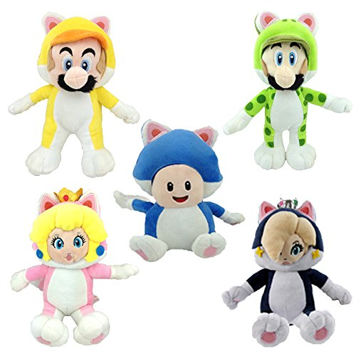 Super Mario 3D World Cat Mario Luigi Toad Peach Rosalina Princess Plush Toy Stuffed Animal (Pack of 5) (3d World Super Mario Plush Cat)