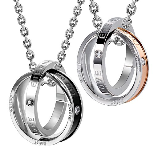 Urban Jewelry His & Hers Couples Belief Worship Love Forever Only Eternal Love Rings Pendant Necklace 19