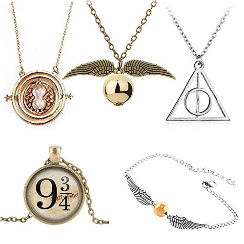INSPDNT 5 Pcs Time Hourglass Pendant Necklace, Gold Ball with Wings Necklace Triangle Round Pendant and Link Bracelets Inspired Necklace and Bracelets Set Christmas Friendship Gift