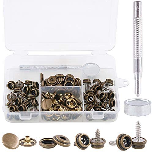Rustark 120-Pcs Bronze Fastener Screw Snaps Boat Canvas Cover Snap Button Cap Marine Grade 3/8