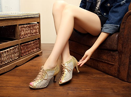 Dance QJ5006 Tango Women's Salsa up Lace Gold Shoes Mesh Minishion Latin Z8xfOq8n