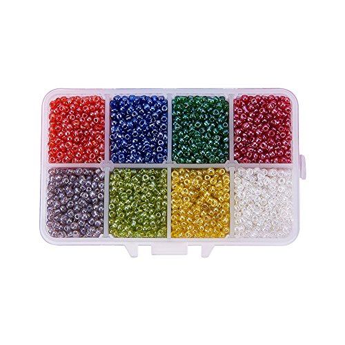 8mm Seed Beads - PandaHall Elite About 4200 Pcs 8/0 Multicolor Beading Glass Seed Beads 8 Colors Round Transparent Pony Bead Mini Spacer Czech Beads Diameter 3mm for Jewelry Making