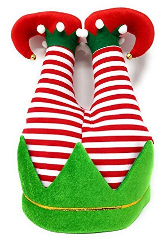 Christmas Holiday Santas Elf Legs Cap Funny Novelty Hat for Party or Tree Decoration, White Elephant Ugly Sweater Celebration