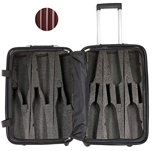 (VinGardeValise - Up to 12 Bottles & All Purpose Wine Travel Suitcase (Burgundy))