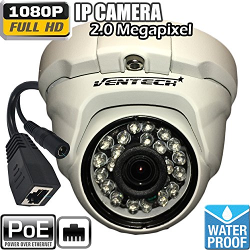 Ventech Security Camera, 1080P POE(Power Over Ethernet) IP Camera Outdoor, Home Security Surveillance Camera, 60 feet Night Vision, IP66 Waterproof, Stabler Connection Compared with Wifi Cameras by VENTECH