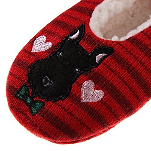 Dosoni Mujeres Niñas Súper Suave De Dibujos Animados De Animales Fuzzy Fleece Forrado Invierno Home Slipper Red Dogs