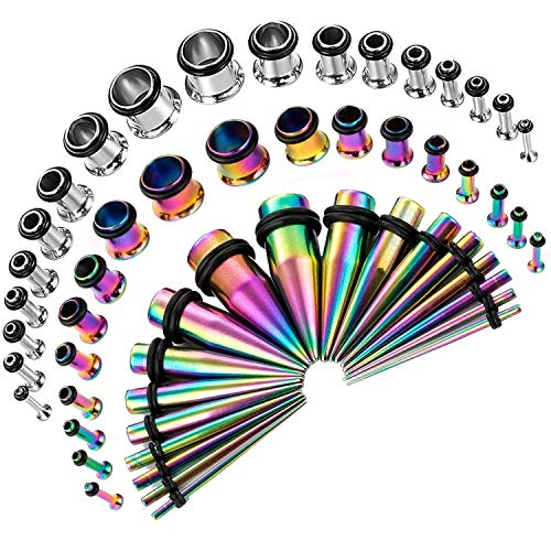- CABBE KALLO 54PCS Ear Gauge Stretching Kit Stainless Steel Tapers and Plugs Set Eyelet 14G-00G (Rainbow)