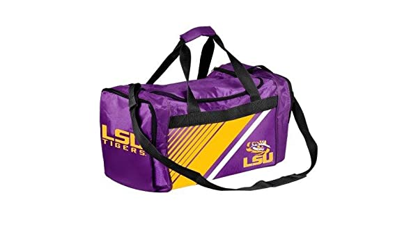 07d8fa098aab Amazon.com   Forever Collectibles NCAA Louisiana State LSU Tigers Border  Stripe Duffle Bag   Sports   Outdoors