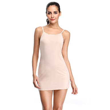 3553d196c4c Joyshaper Womens Full Slips Under Dress Adjustable Spaghetti Strap Long  Cami Camisole Slip Dress Beige