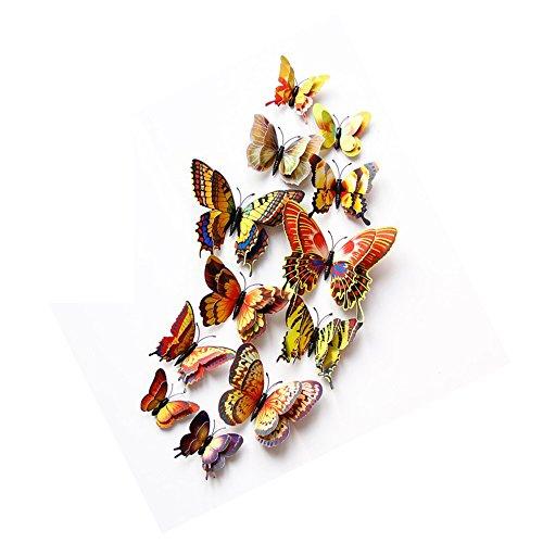DAGOU Mixed of 12PCS 3D Pink Butterfly Wall Stickers Decor Art Decorations¡ (Golden)