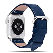 5 Colors Apple Watch Bands, Fullmosa Yona Series Dark Blue Genuine Calf Leather Strap Replacement Band with Stainless Metal Clasp for iWatch Series 1 Series 2 Series 3,Dark Blue,38mm