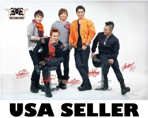 Big Bang posed white bkgrnd Poster red accent Korean boy band G-Dragon Top Bigbang