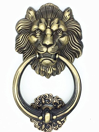 UniDecor Large Antique Lion Door Knocker Lion Head Door (Metal Door Knocker)