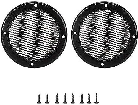Alinory 2PCS 5inch Metal Audio Speaker Covers Protective Decorative Circle Mesh Cover Speaker Grills Black+Black