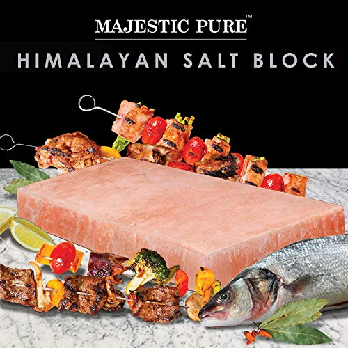 Majestic Pure Pink Himalayan Salt Block - with Stainless Steel Holder - 12in x 8in x 1.5in by Majestic Pure (Image #1)