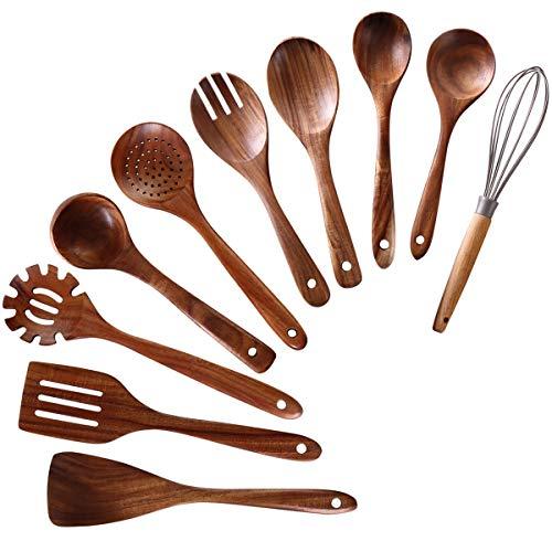 Wooden Utensils for Cooking,NAYAHOSE 10 PCS Teak Wooden Cooking Spoons and Spatula for Cooking including Spoon Ladle…