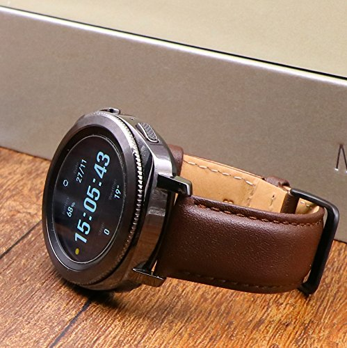 Aresh for Samsung Gear Sport Band, 20MM Genuine Leather Bands for Gear Sport Smartwatch SM-R600 /Gear S2 Classic/ Garmin Vivoactive 3 (Brown) Photo #9