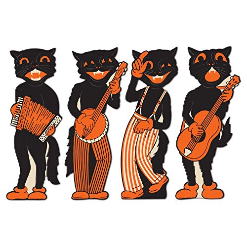"4 Scat Cat Band 17"" Halloween Party Decor WALL CUTOUTS Vintage 1941 Reproduction"