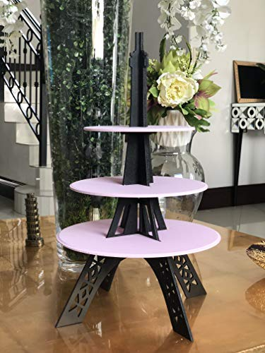 Eiffel Tower cupcake stand or centerpiece in PINK AND BLACK -