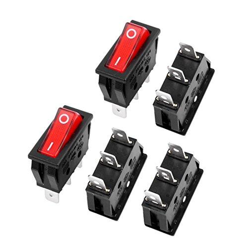20a Switch (uxcell 5pcs E75 Red Light On/Off SPST Boat Rocker Switch 22A/250V 20A/125V AC)