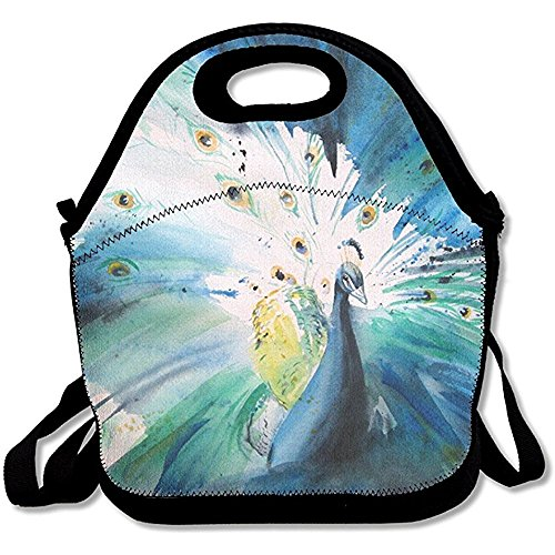 (Starboston Watercolor Peacock Extra Large Insulated Lunch Box Food Handbag)