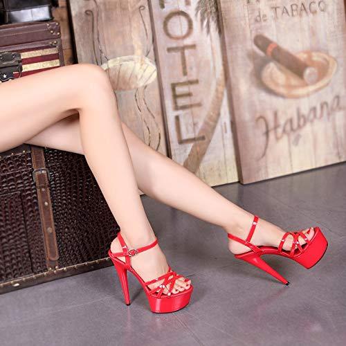 Femmes Nouveau Bout Hauts Talons Soir Alboc Talon Red forme Haut Sandales Ouvert Aiguille Plate rdtshQ