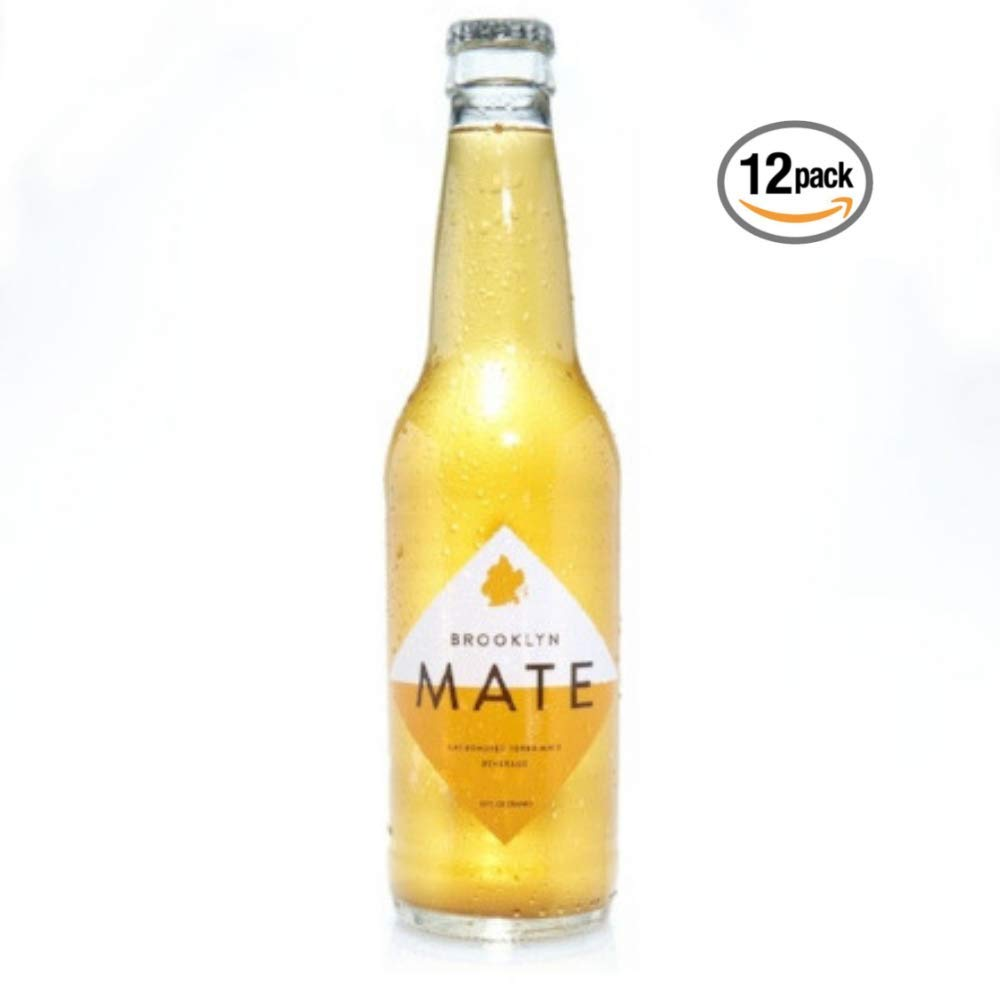 Brooklyn Mate - Organic and Lightly Sweetened Carbonated Yerba Mate Beverage-Brewed Pure Leaf Yerba Mate with Ginger, agave, lemon, and vanilla for sustained plant-based natural energy 12 bottles