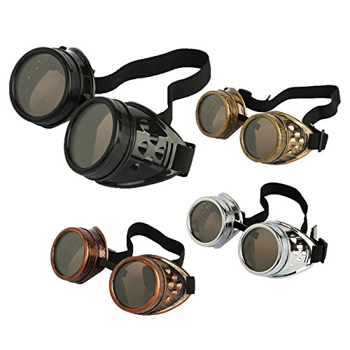Agile-shop 4pcs Retro Vintage Victorian Steampunk Goggles Glasses Welding Cyber Punk Gothic - Sunglasses Shops