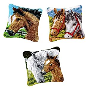 D DOLITY 3pcs Latch Hooking Kits DIY Rug Making Pillow Cover Case Home Decors Horse
