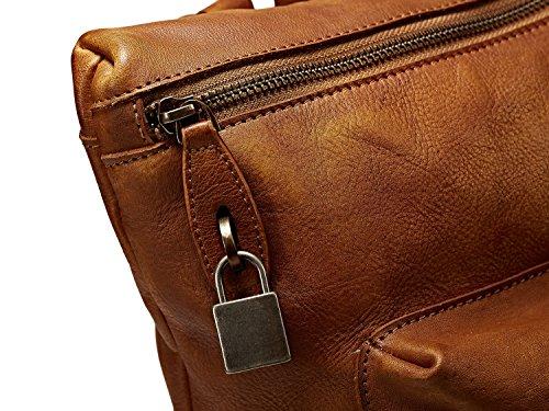 Rucksack Schultern, Bvane Vollnarben-Leder Schultern Rucksack Schultasche Umhängetasche 160801 (blau grau)