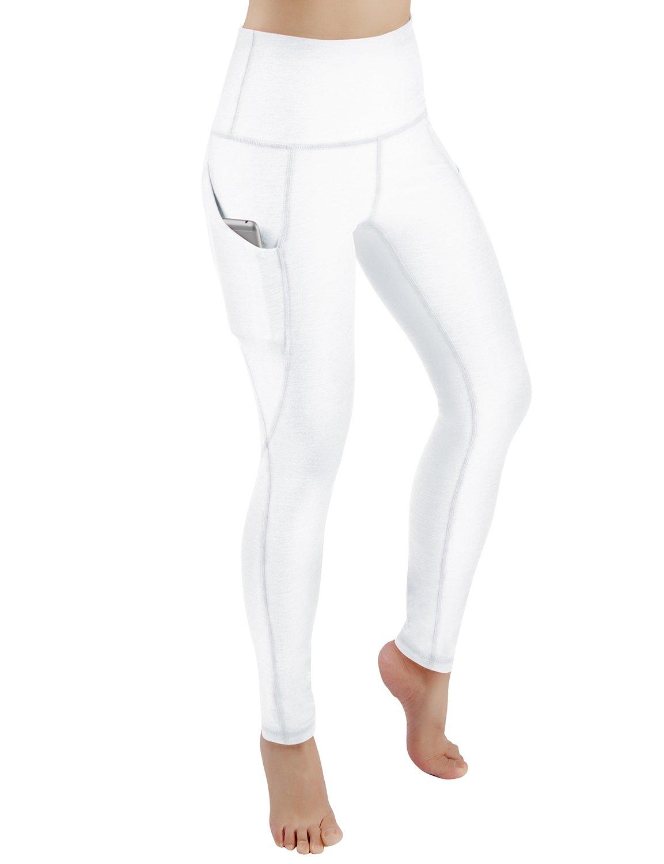 ODODOS High Waist Out Pocket Yoga Pants Tummy Control Workout Running 4 Way Stretch Yoga Leggings,White,Medium