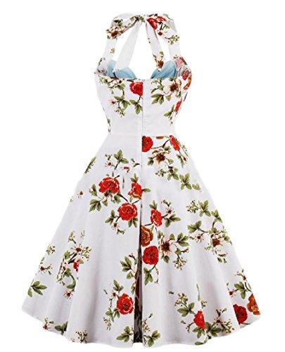 Blue Backless Strapless Plus Size Dress Women Coolred Light Evening Stitch Printed Halter Flower TSxq7