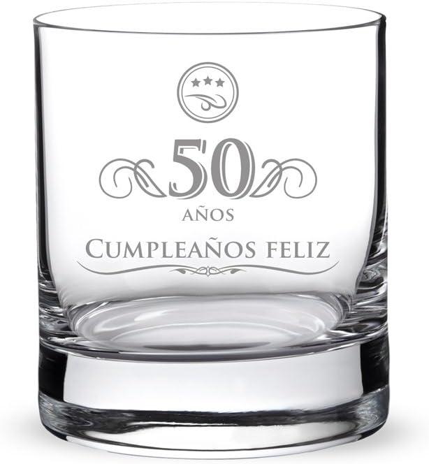 AMAVEL Vaso de Whisky para Hombres de Vidrio Grabado 50 Años Capacidad 320 ml