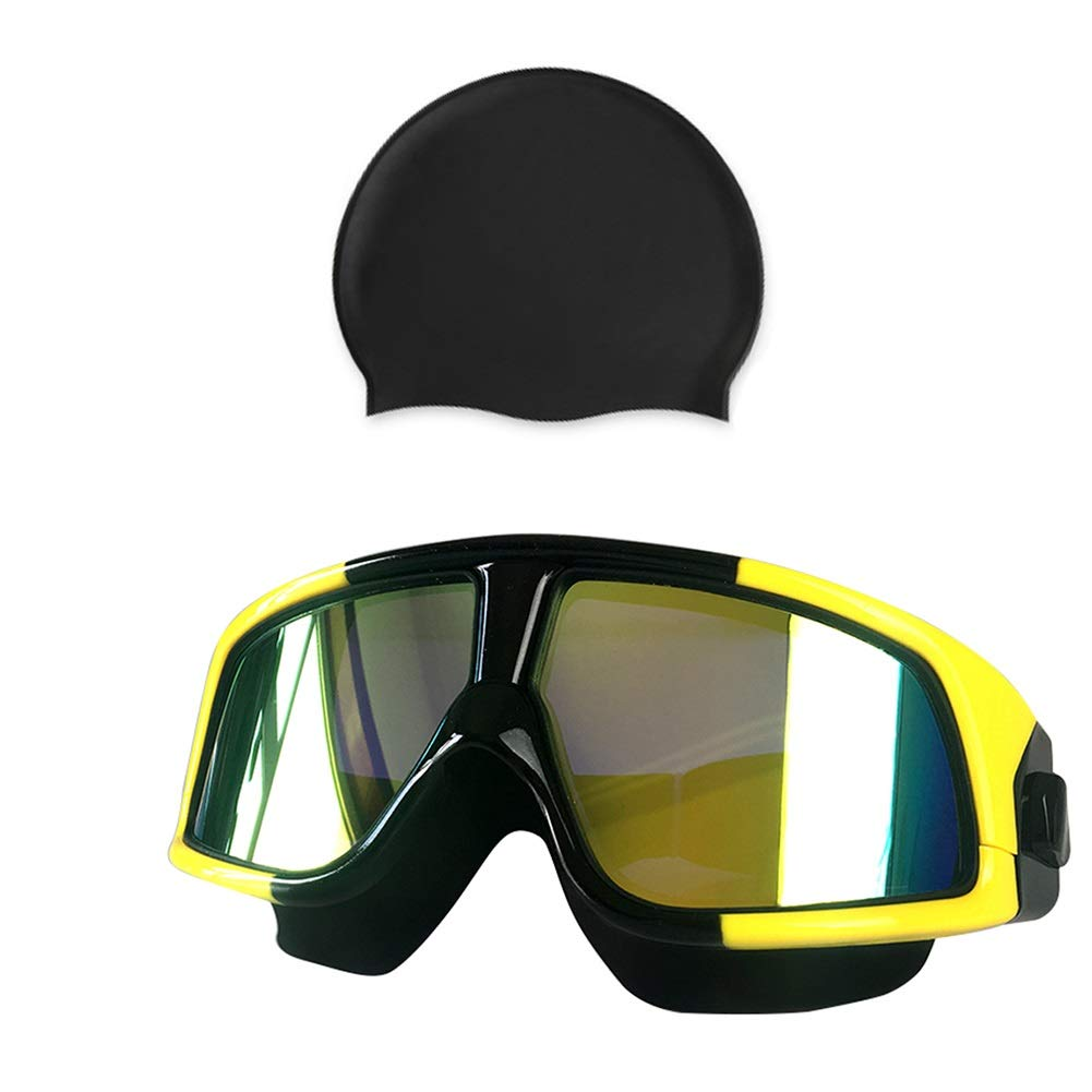 Yellow B Swimming Goggles for Men and Women Youth Large Frame Waterproof AntiFog Plating Goggles (color   Black, Size   B)
