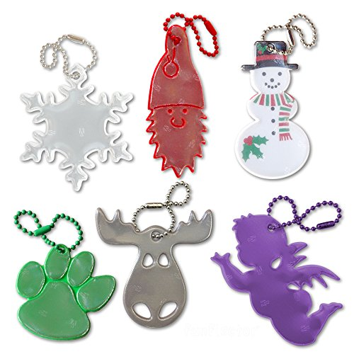 funflector Safety Reflector - Christmas Collection - 6-pack