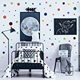 3D Learning LLF Stars and Circles Wall Decals Wall Decor 147 Watercolor Pieces- Waterproof Removable Peel and Stick Vinyl Wall Stickers for Kids Nursery Bedroom Classroom Kitchen