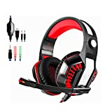 Beexcellent GM-2 Gaming Headset with Mic, Xbox One Headset, PS4 Headset, PC Gaming Headset, Surround Sound Over-Ear Gaming Headphones with Noise Canceling, Volume Control and LED Lighting, Black+ Red