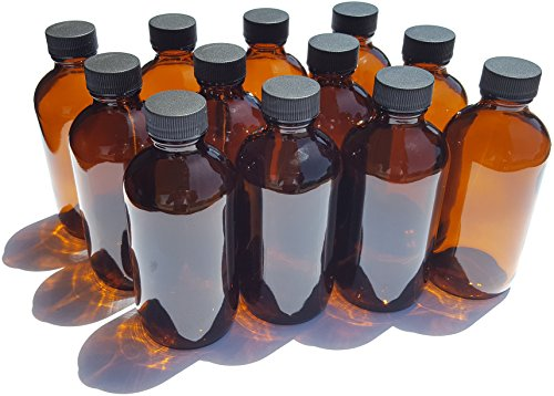 J&E Supplies 4 oz Amber Boston Round Glass Bottles with Ribbed Cap (12 Pack)