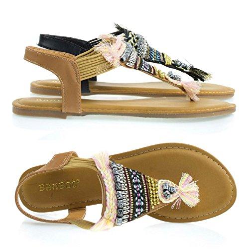 Elastische Platte Sandaal In Tribal Kraal, Multi Gekleurd Geweven Patroon En Natuurlijk Metaal