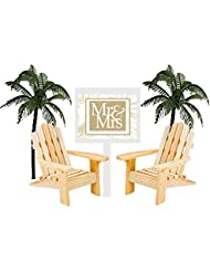 Wedding Anniversary Rustic Wood Unfinished Beach Chair Cake Decoration Cake Topper with Sign (Mr & Mrs)
