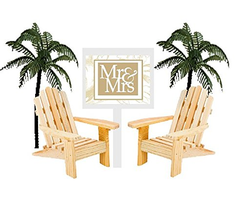 Price comparison product image Wedding Anniversary Rustic Wood Unfinished Beach Chair Cake Decoration Cake Topper with Sign (Mr & Mrs)