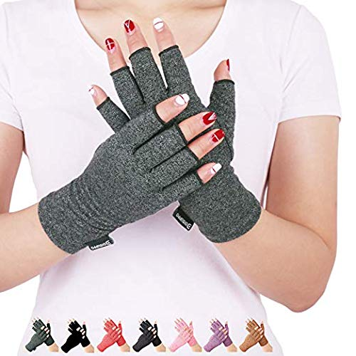 DISUPPO Copper Infused Compression Arthritis Gloves with Non-Slip Silicone Gel. Copper Fit Gloves for Arthritis, RSI, Carpal Tunnel, Swollen Hands, Tendonitis, Everyday Support & More