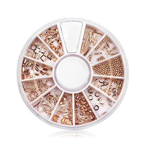 Indexu Rose Gold Rivet 3D Nail Decoration DIY Mixed Shaped Nail Art Decals Tips (Rose Gold)